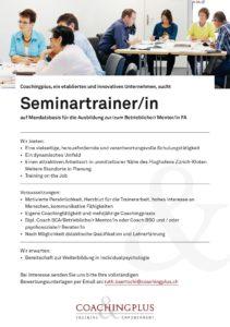 Stelleninserat: Seminartrainer & Coach gesucht
